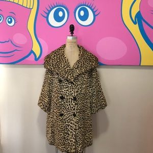 Vintage Leopard Animal Print Faux Fur Coat